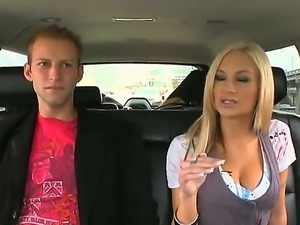 Super sexy and pretty blonde Amy Reid with plump big boobs in my car today