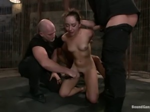 Sweet brunette Remy LaCroix gets gangbanged for the first time.