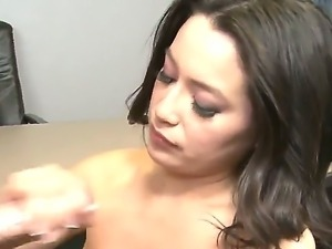Beautiful dark haired babe Linda Lay is sucking a hard cock of her boyfriend,...