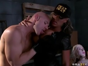 Hot bodied lady cop Carmen Jay in nice black uniform