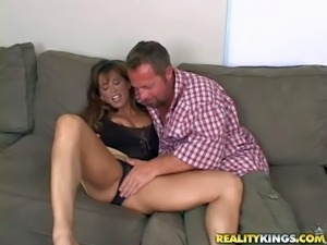 Slutty MILF bares her huge sexy hooters and takes dude's