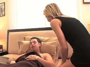 Hot milf Jessie Fontana is serving stud wet blowjob and wild cock riding for...