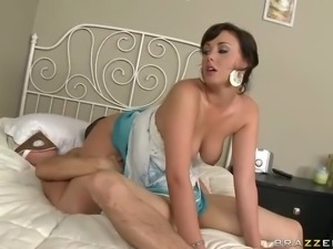Young dark haired pornstar Brooke Lee Adams with big natural