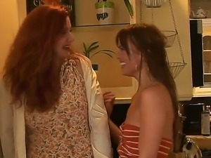 Mature lesbian bitches got drunk and started kissing and petting in the bedroom