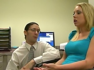 Nerdy clerk John Henry seduces his hot colleague Shawna Lenee into fucking...