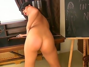 The teacher of our dreams Sasha gives a nice titties and ass show in the...