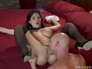 Tight black haired porn diva Rebeca Linares loves hardcore fucking.