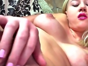 The attractive blonde whore Lada Love with a natural tits demonstrates her...