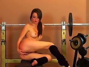 Malena Morgan is tired of this hard training and decides to work out her...