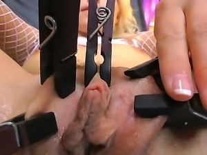 Blonde horny babe Anikka Albrite plays with toys as she fingers her tight...