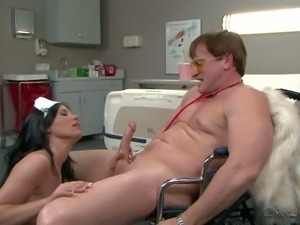 Raven haired busty nurse Rebeca Linares is a smoking hot