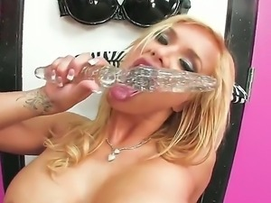Love hole of a blondie is going to be fucked with hard dildo, she is such a...