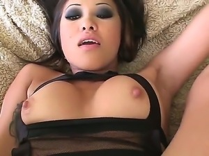 Asian bitch opened legs and is using a cunt vibrator and her lover fucking...