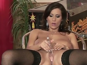 Busty bitch Sensual Jane exhausts her tight juicy pussu with huge glass dildo...