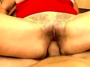 Mature blonde granny Effie with hairy minge and big tits gets stiff pecker up...