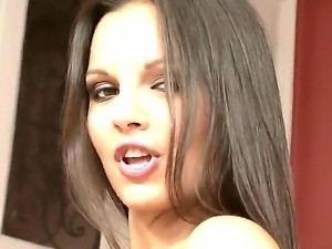 Glamorous brunette Eve Angel gets maximal pleasure in the doggy style position
