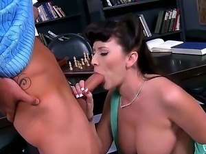 Amazing dark haired babe Alexis Grace is doing an awesome job sucking her...