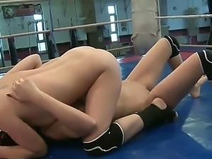 Arousing Abbie Cat is fighting horny Henessey in wild lesbian cat fight