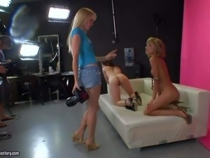 Slender gorgeous blonde and brunette lesbian beauties Ioana and Amirah