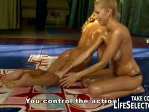 Oily lesbian bitches wrestle for you