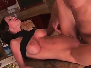 Slender, but breastly lady Brandi Edwards with long legs fucking with her...