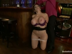 Curvy milf Sara Jay with big hooters and shaved pussy