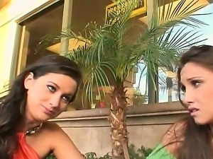 Two elegant babes Celeste Star and Dana Vespoli with beautiful eyes talking...