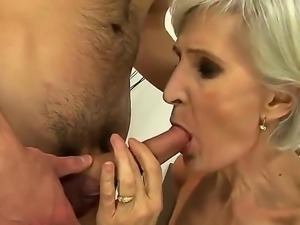 Young horny stud is licking sweet granny Vivianas hairy bush hungrily