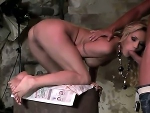 British blonde Kerry Louise gets fucked by Jenny in the bombproof shelter