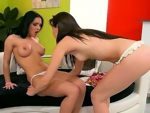Sexy brunette babes Honey Demonand Sophie Moone kiss before getting intimate...
