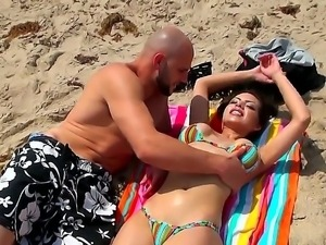 Jmac has super sweet time at the sunny beach with gorgeous and busty brunette...