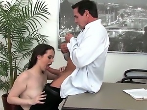 Peter North gets a hot blowjob and balls sucking from his new busty secretary...