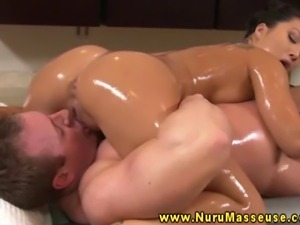 Massage asian slut tugs her clients hard dick during hi