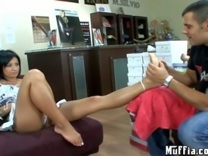 Cassye is a black haired sexy lady that shows her bare feet to curious guy...