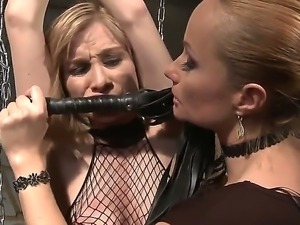 A mistress decides to punish a gal friend chaining and toying her mouth with...