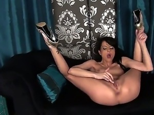 skinny black haired Kimmy Haze with long legs and natural boobies starts...