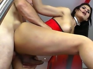 A hot sexy slut fucked doggy by a hairy guy on his wet pussy.
