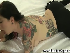 Tattooed punk emo fetish goth slut hard fucking action