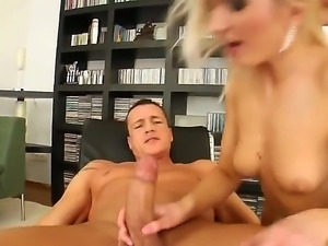 Hot babe Angelina sucks a hard dick as she is being fucked by a huge cock in...