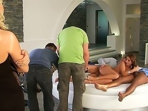 Pretty tempting and pale blonde bitch enjoys watching hot ass brunette Debbie...