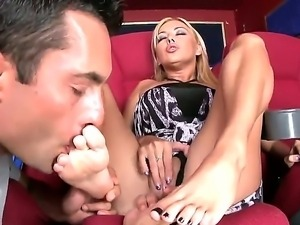 Skilful blonde hottie Nikky Blonde with arousing make up and long sexy legs...