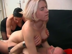 Hot threesome sex in office with two horny milfs