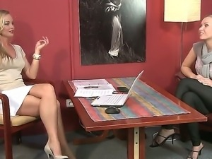 Cool intimate interview with two blonde gals Michelle D and Silvia Saint...
