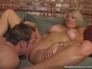 Hot and arousing pornstar milf Emma Starr enjoys in a passionate couch sex...