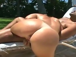 Tanned brunette Melina with natural boobies and hot body gets her minge...