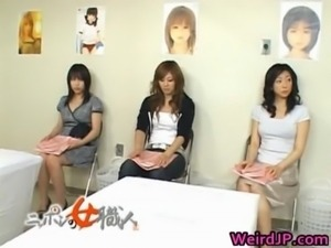 Asian wife is examining female workers free