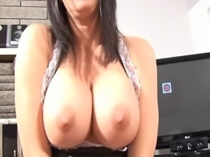 Hot made on duty Tiffany give a nasty hand job and foot job before she get...