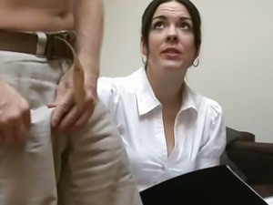 Cfnm brunette gives handjob