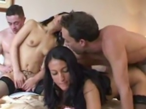 Two very naughty amateur girlfriend in this great homemade hardcore foursome...