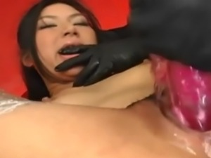 Chihiro is tied in Japanese Bondage Rope Suspension and her captors rip off...